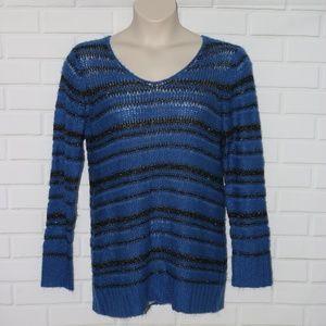 Motherhood Maternity Sz XL Blue Striped Sweater